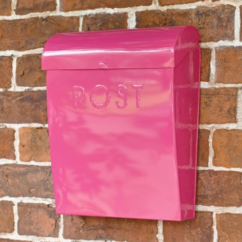 """""""Persian Summer"""" Contemporary Post Box Finished in a Bright Pink"""