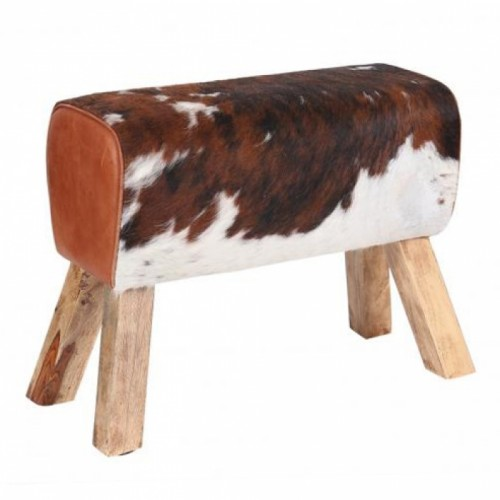 """""""Cowhide"""" Leather Horse Stool"""