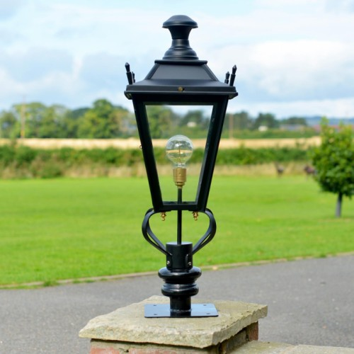 Black Dorchester Pillar Light in Situ on the Drive Way