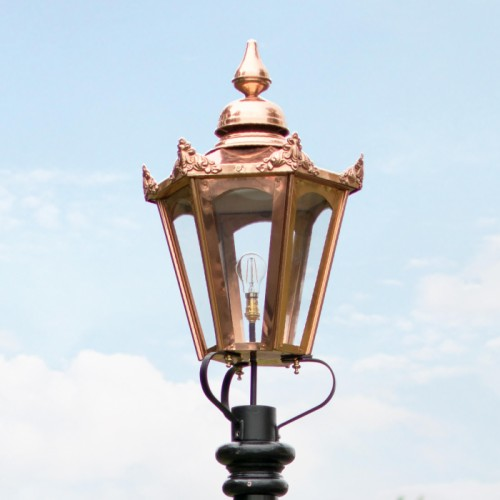 Large Copper Hexagonal Victorian Lamp Post Top