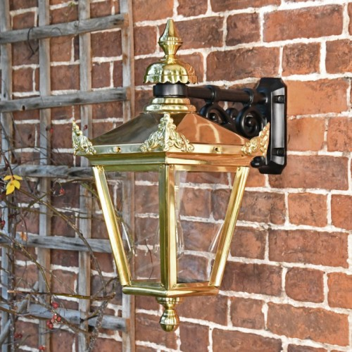 Polished Brass Suspended Wall Lantern 63 x 47.5cm