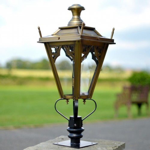 Brass Gothic Pillar Light and Lantern Set in Situ on a Driveway