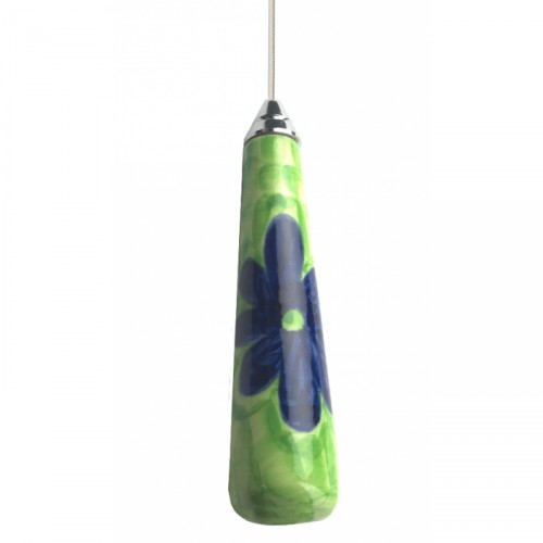Green Grass of Home Ceramic Light Pull with Blue Flower