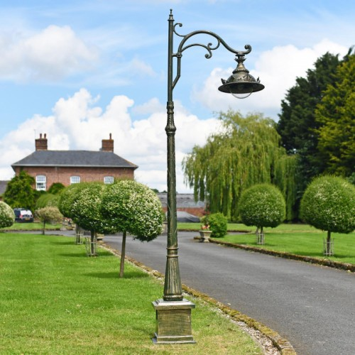 Antique Pale Green Ornate Gothic Cast Iron Lamp Post Installed On Driveway