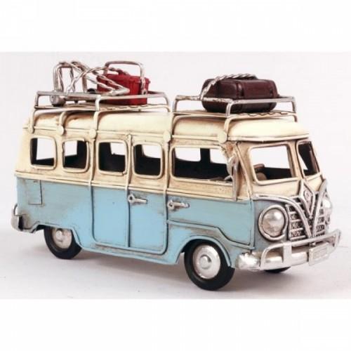 Light Blue VW Camper Van Scale Model