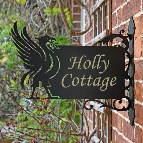 Liver Bird Wall Bracketed House Name Sign in Situ on a Brick Wall