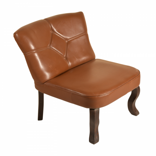 Mango Wood & Brown Goat Leather Low Height Chair