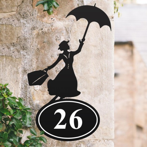 Mary Poppins House Number Sign Created Out of Iron