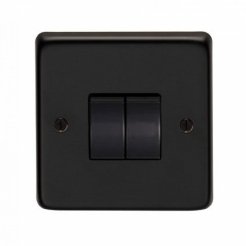 10 Amp Double Switch Light Switch Finished in a Matt Black