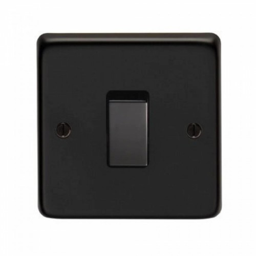 10 Amp Single Switch Light Switch Finished in a Matt Black