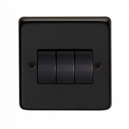10 Amp Triple Switch Light Switch Finished in a Matt Black