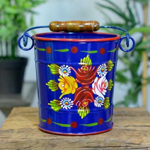Medium Narrowboat Hand Painted Bucket Finished in Blue