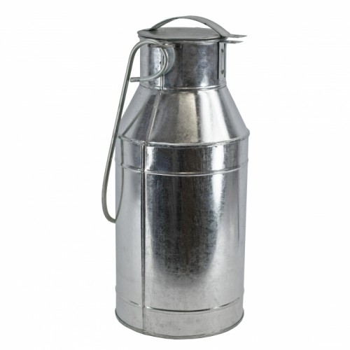 Galvanised Canal Boat Milk Churn with long handle