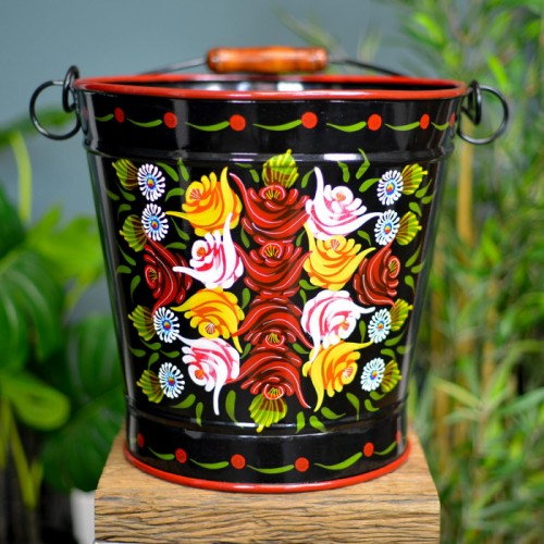 XXL Hand Painted Log Bucket Finished in Black