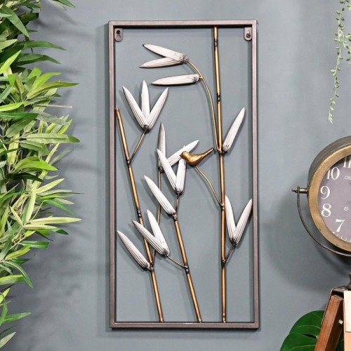 Bamboo Metal Wall Art Created Out of Metal Metal