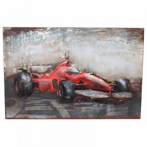 Racing Car 3D Wall Art Created From Metal
