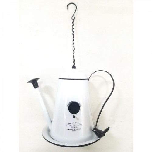 Metal Teapot Hanging Bird Feeder in a Shabby Shic Finish