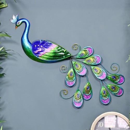 Metallic Glass & Metal Peacock on a Blue Wall