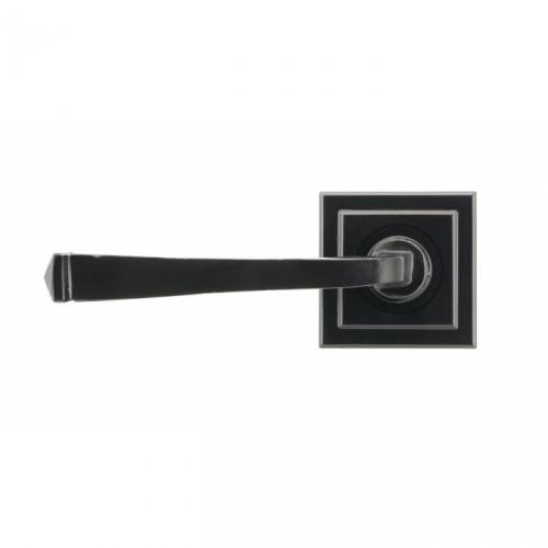 Midnight Black Lever Door Handle on Square Rose
