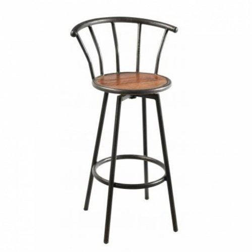 Iron Framed Bar Stool with a Wooden Seat