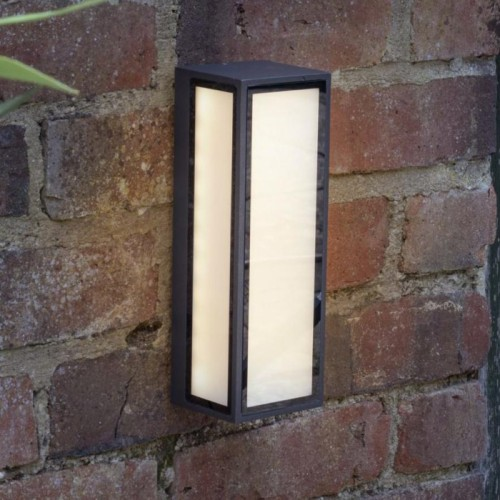 Modern Simplistic Squared Wall Light With Frosted Glass in Situ on a Brick Wall