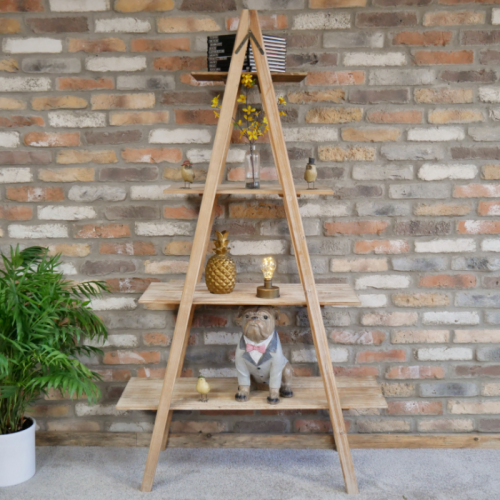 Natural Wooden Triangular Four Tier Shelf