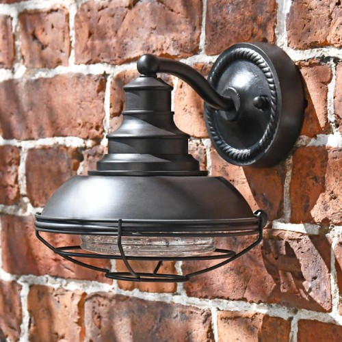 """Newport"" Marine Inspired Wall Lantern with Caged Design"