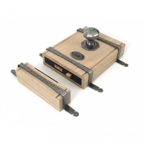 Oak & Antique Pewter Rim Lock and Knob set