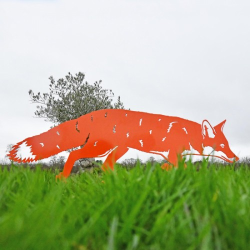 Iron Silhouette Fox in Orange