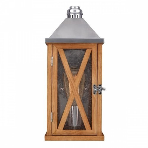"""Osbaston"" Small Natural Wood Hand-Crafted Wall Lantern"