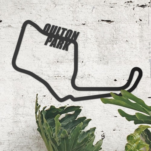 Oulton Park Motor Racing Circuit Wall Art on the Wall Next to Plants