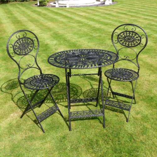 """Paignton"" Table & Two Chair Set Finished in Black"