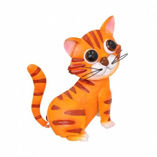 Ginger Painted Cat Garden Sculpture