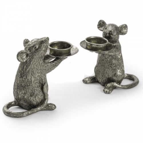 Pair of Mice Table Candle Holders in a Silver Finish