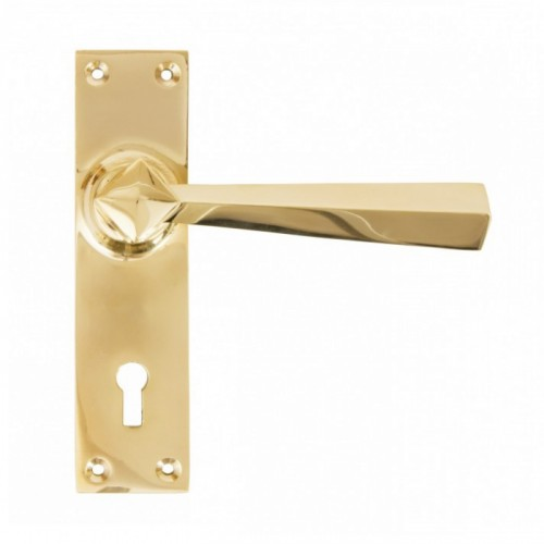 """Peregrine"" Straight Lever Lock Set in a Polished Brass Finish"