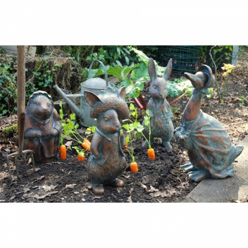 set of Four Peter Rabbit Garden Sculptures Finished in an Aged Bronze