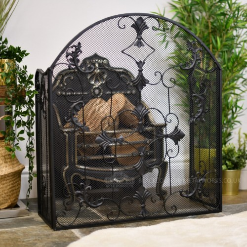Black Leaf Design Three Fold Fireguard