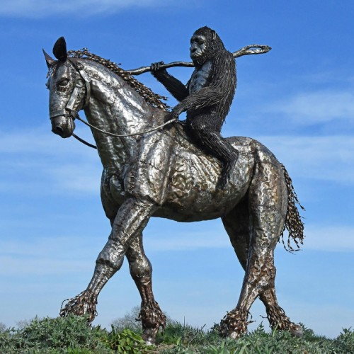 Planet Of The Apes 'Caesar' Riding Horse Sculpture Created Out of Recycled Metal