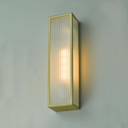 Polished Brass Reeded Glass Wall Light in Situ on a GReen Wall