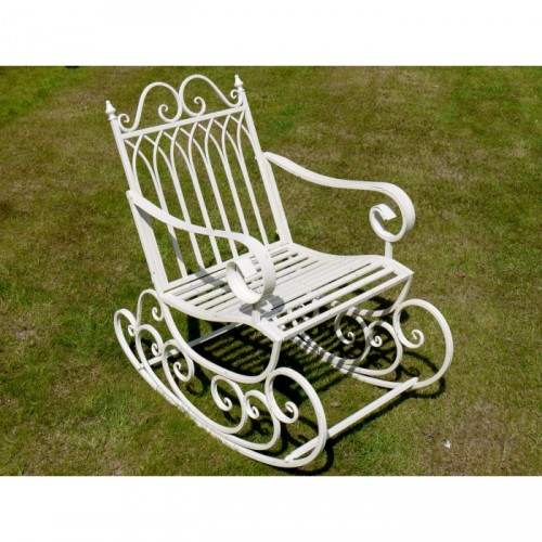 Prestwich Avenue Wrought Iron Garden Rocking Chair Black Country