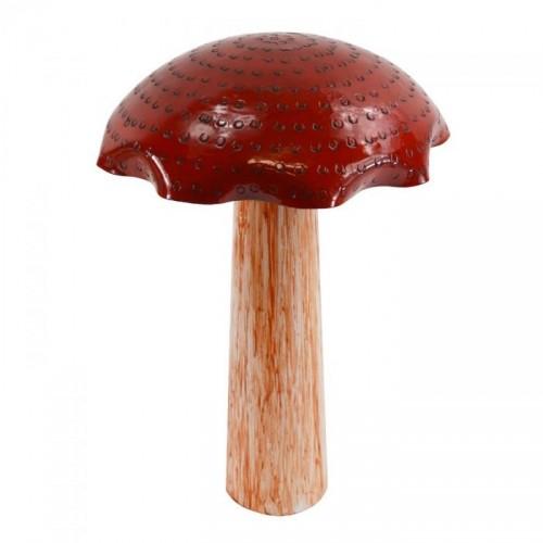 Hand Painted Steel Mushroom Sculpture in Red