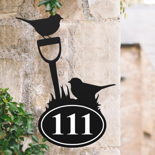 Bespoke Robin Iron House Number Sign in Situ