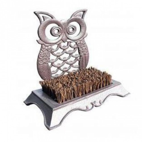 Cast Iron Owl Boot Brush in a Rustic Brown Finish