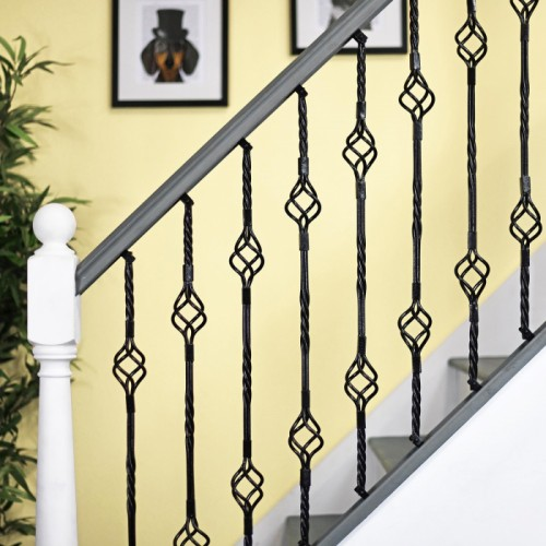 Black Iron Double Basket Stair Spindle