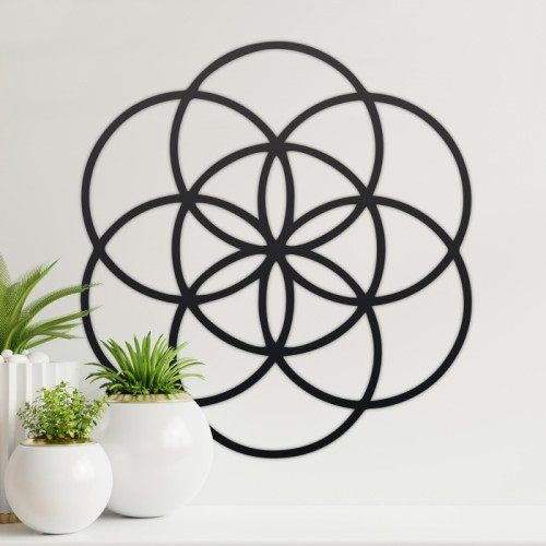 "Black ""Seed of Life"" Steel Wall Art in the Home"