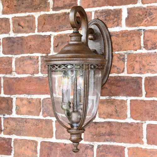 """Sandyway"" Extra Large Top Fix Bronze Wall Lantern on Situ on a Brick Wall"