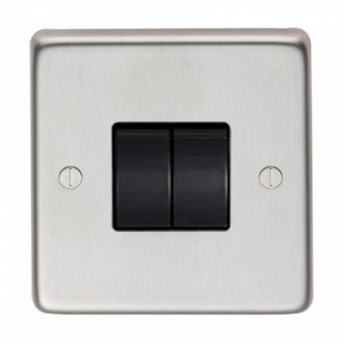 10 Amp Double Switch Light Switch Finished in a Satin Stainless Steel