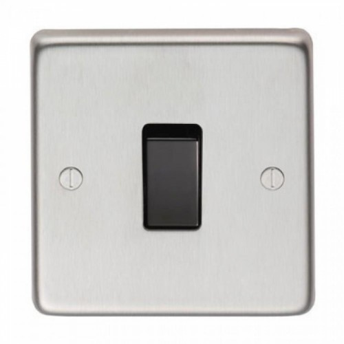 20 Amp Single Switch Light Switch Finished in a Satin Stainless Steel