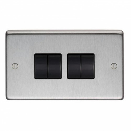 10 Amp Quad Switch Light Switch Finished in a Satin Stainless Steel