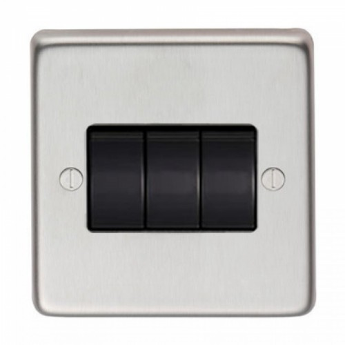 10 Amp Triple Switch Light Switch Finished in a Satin Stainless Steel